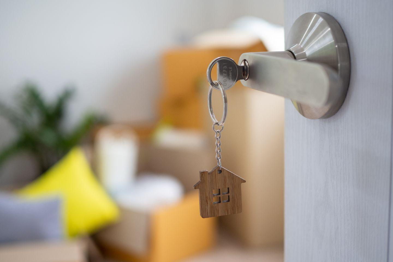 Door handle with key in lock