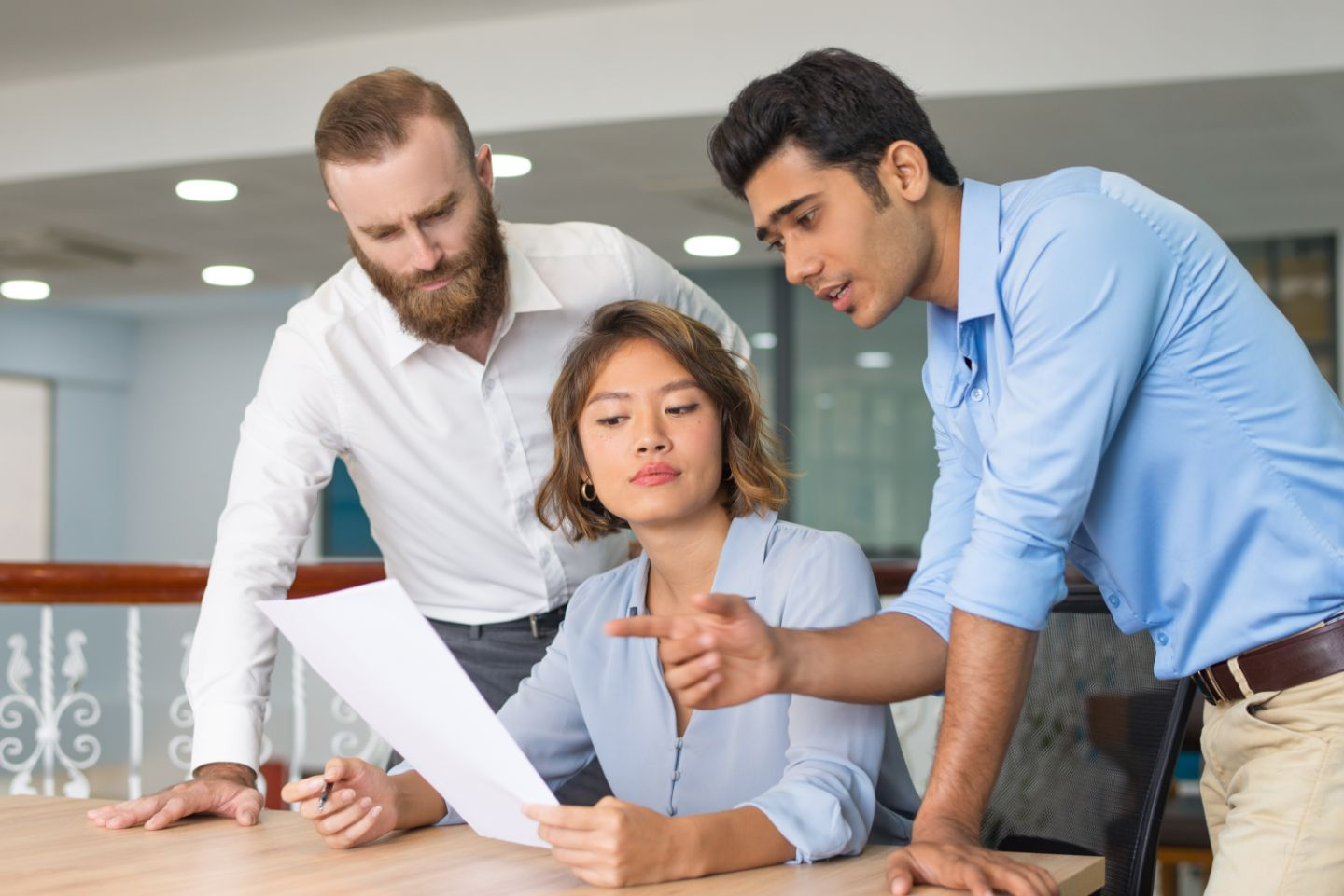 People looking over a document together