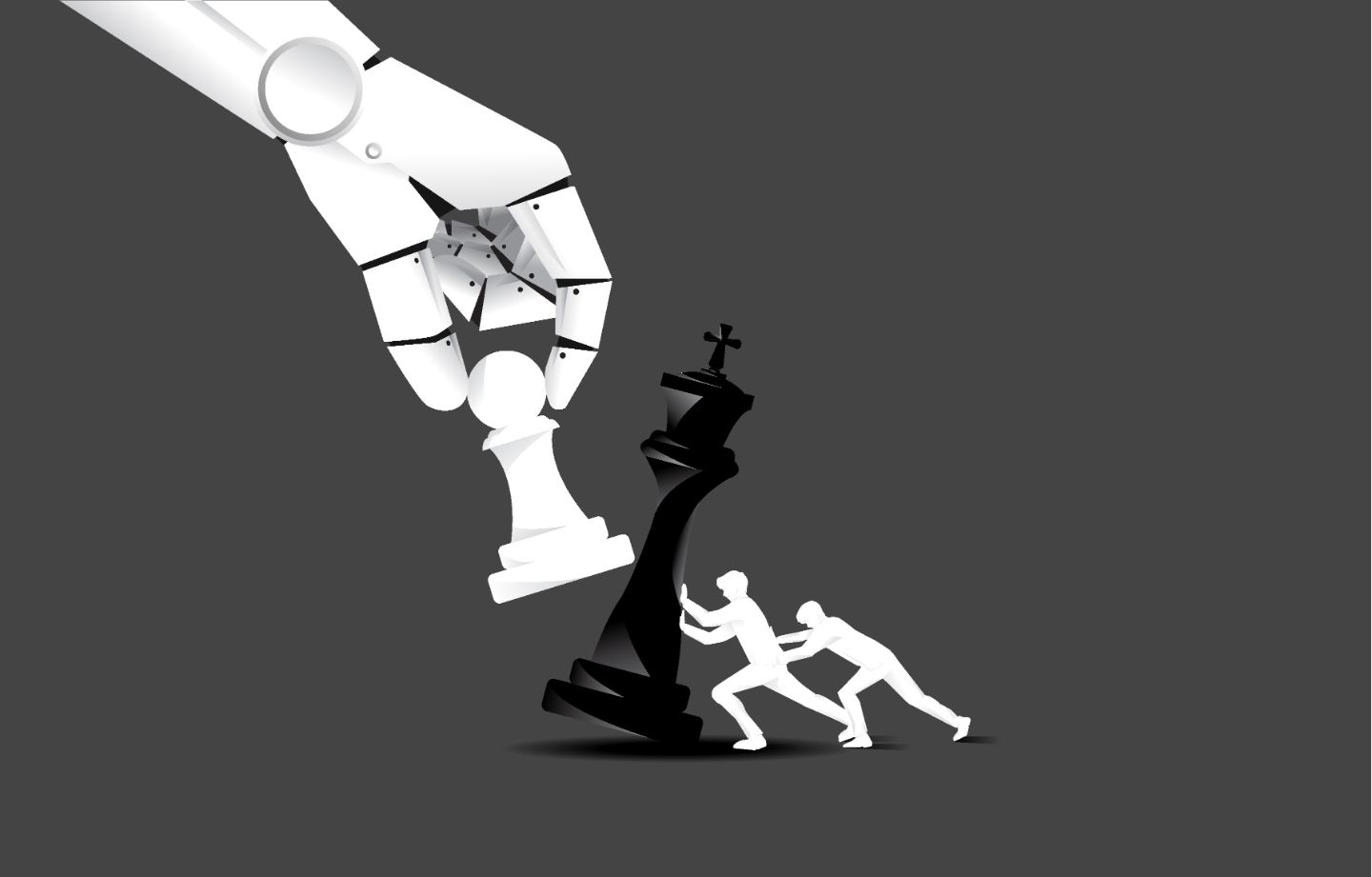 Chess pieces pushed by small paper figures